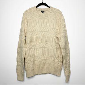 J. Crew Cotton Sweater In Combination Guernsey Stitch Crewneck Cream Large